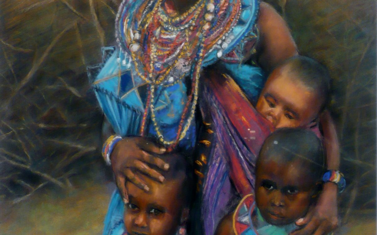 African mother and children